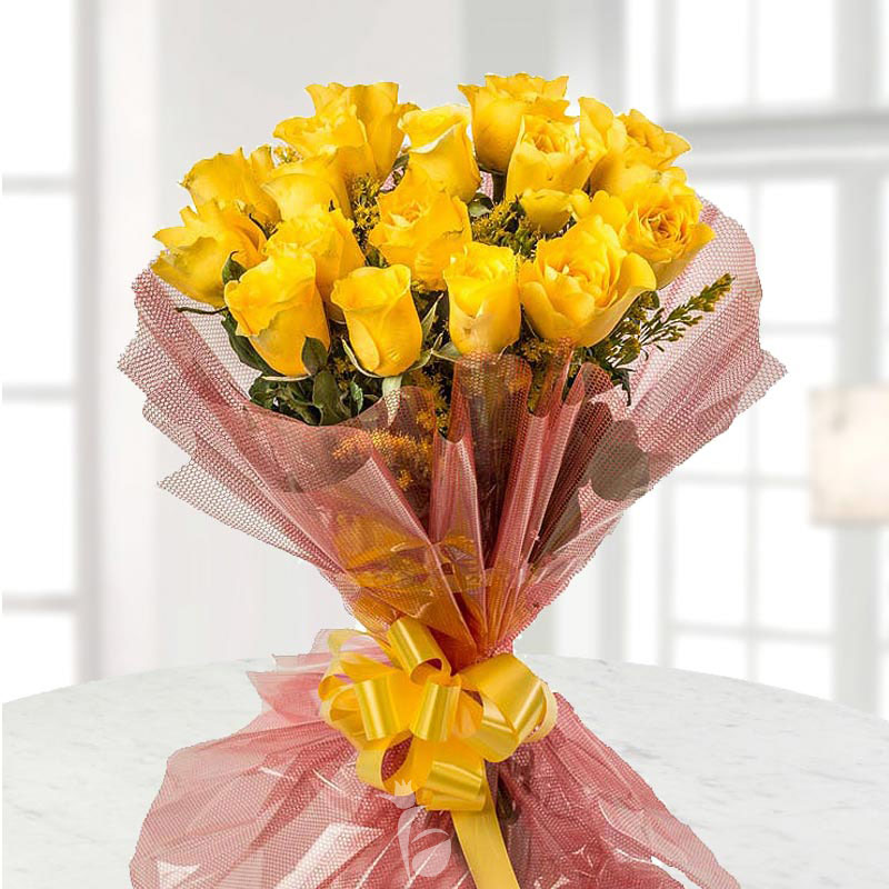 Bunch of 15 Yellow Roses