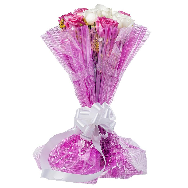 12 Pink and White Roses with Front View