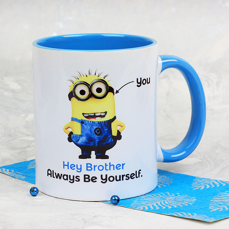 A Delightful My Brother Is One in A Minion Mug with Front Sided View