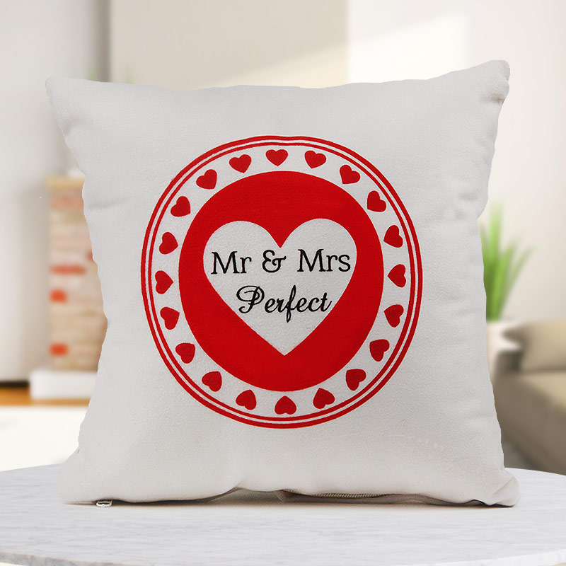 """""""Mr and Mrs Perfect"""" quoted 12x12 white cushion"""