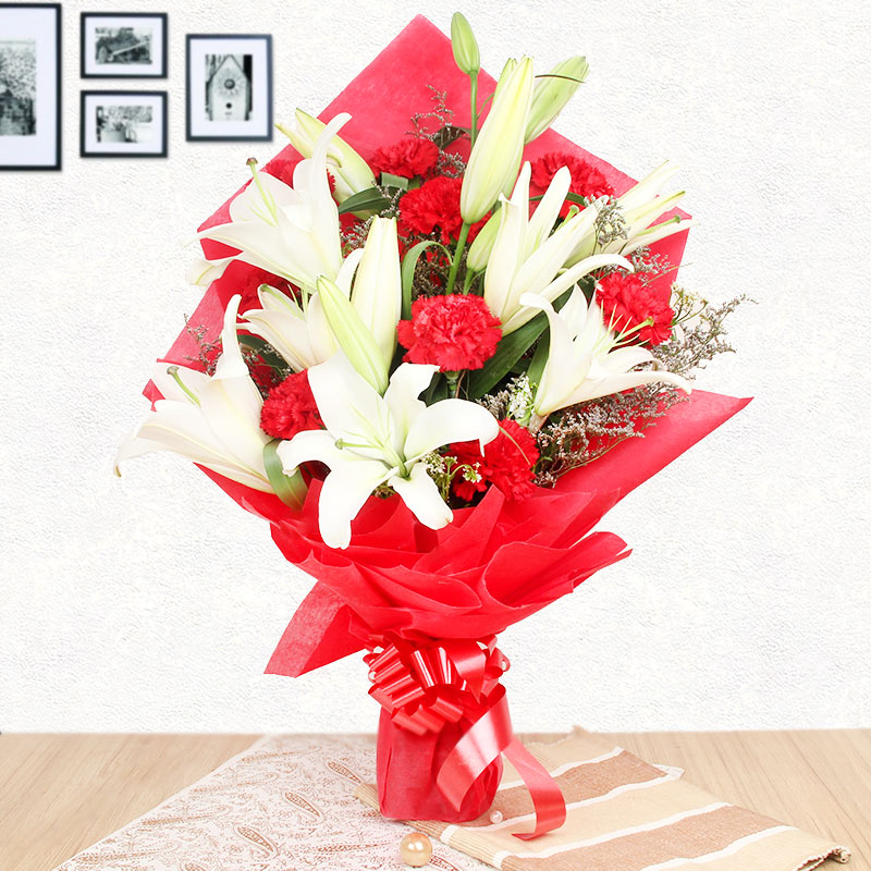 3 White Lilies and 10 Red Carnations with Front View