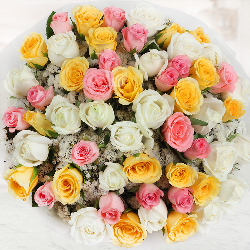 Top view of 50 mixed roses in Dreamy Emotions