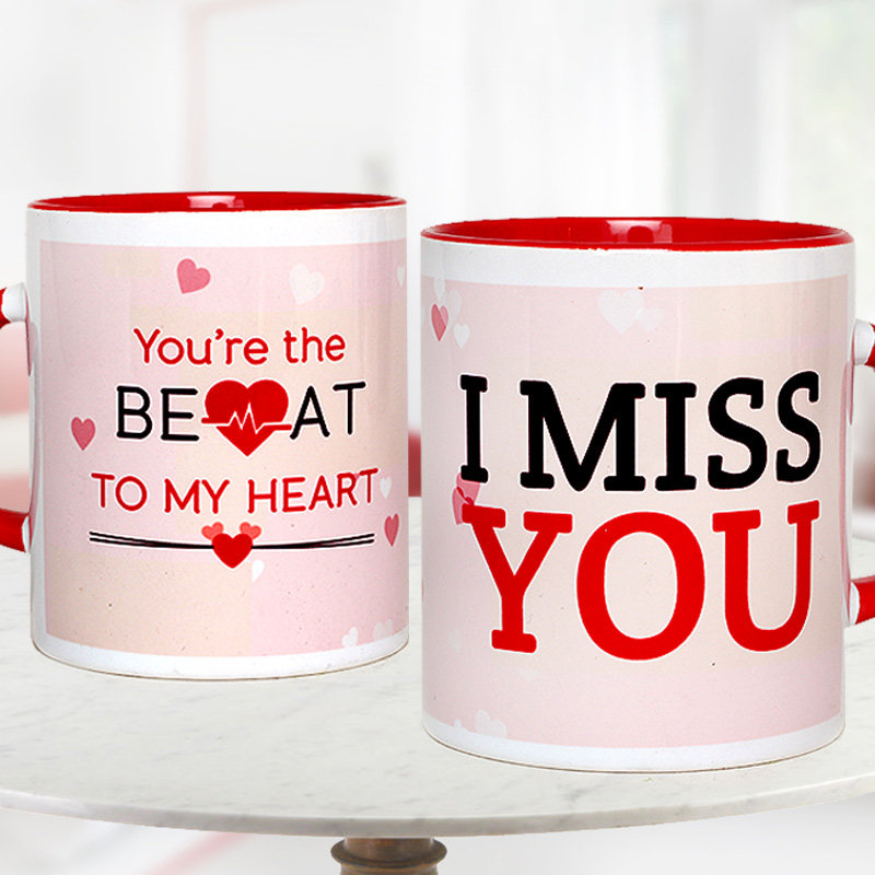 I Miss You Quoted Pink and Red Duotone Mug with Both Sided View