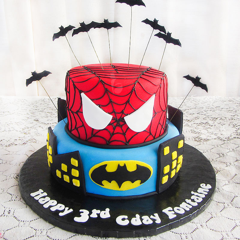 Awe Inspiring Order Two Tier Spiderman Cake Online Price Rs 4999 Floweraura Personalised Birthday Cards Beptaeletsinfo