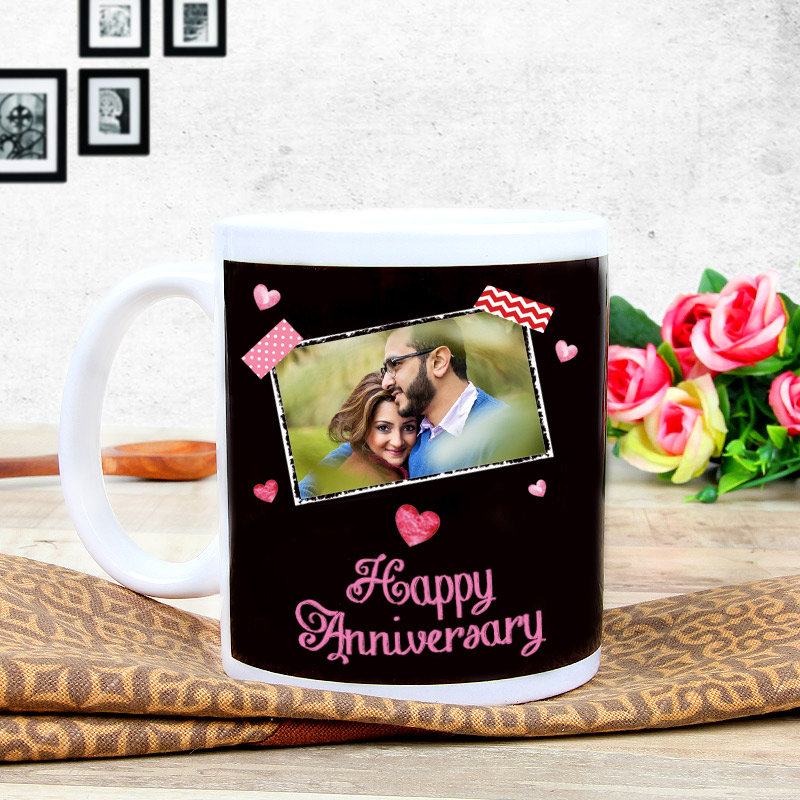 Anniversary Ecstacy - A Personalised Anniversary Mug with Back Sided View
