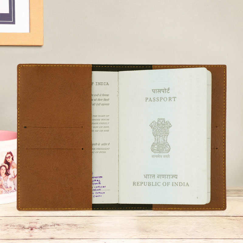 Inner Side of Brown Personalized Passport Cover