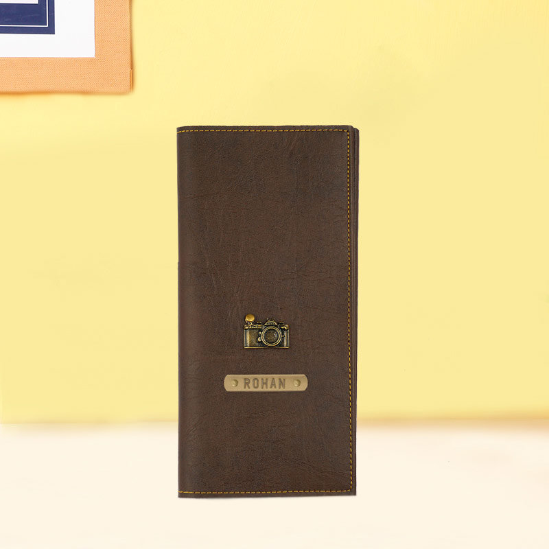 Brown Color Personalised Passport Cover