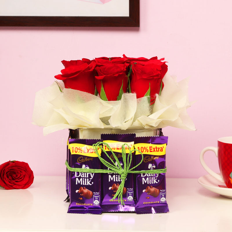 Red Roses and Chocolate Bouquet for Valentines Day