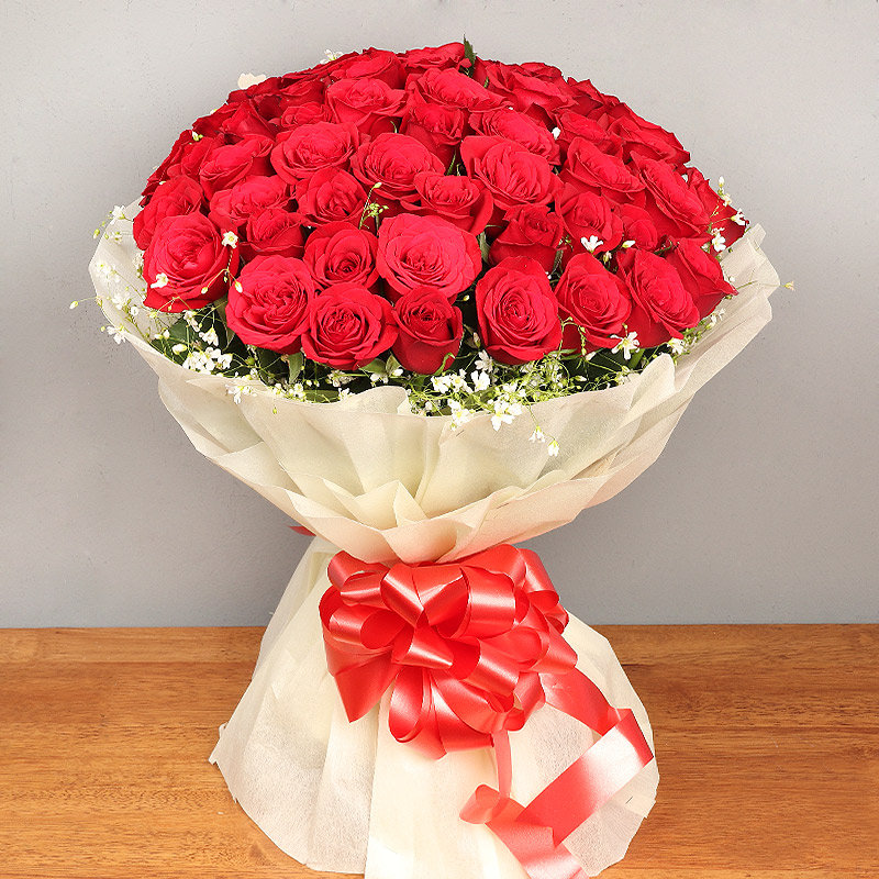 Bunch of Fifty Red Roses