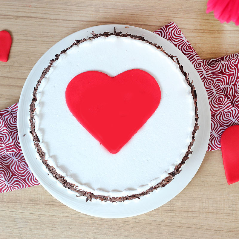 Black forest cake with hearts - Top View