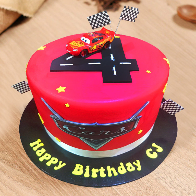 Remarkable Order Mcqueen Cars Birthday Cake Online Price Rs 3499 Floweraura Funny Birthday Cards Online Eattedamsfinfo