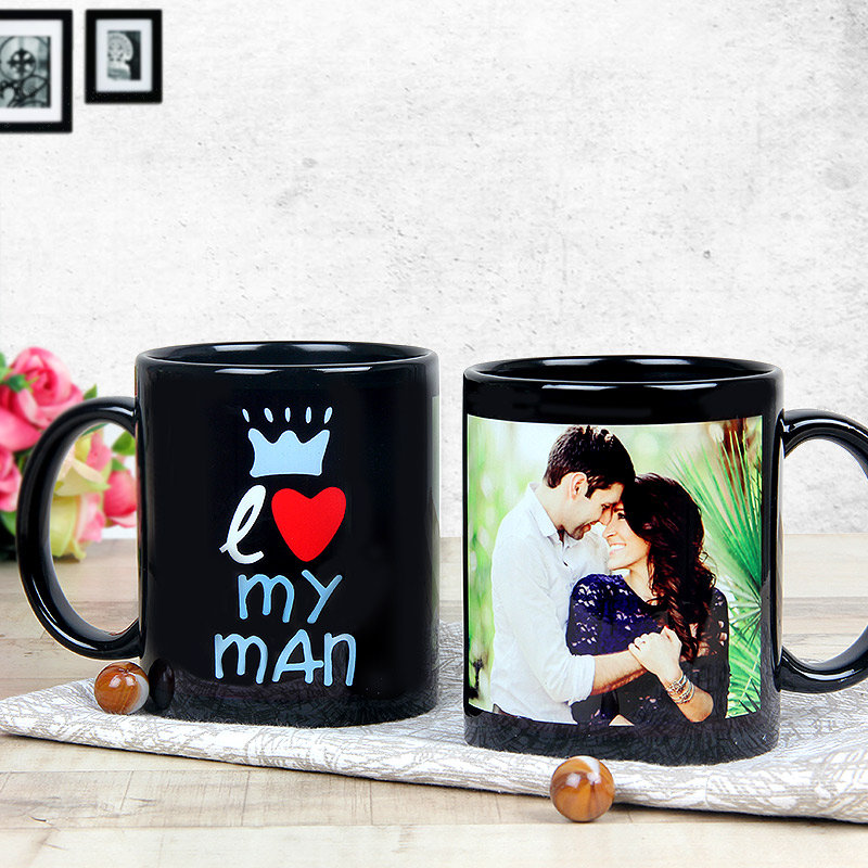 Personalised Black Coffee Love Mug with Both Sided View