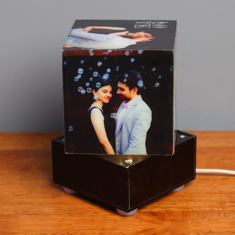 Square Shaped Personalised Lamp with 5 Images in Dark View