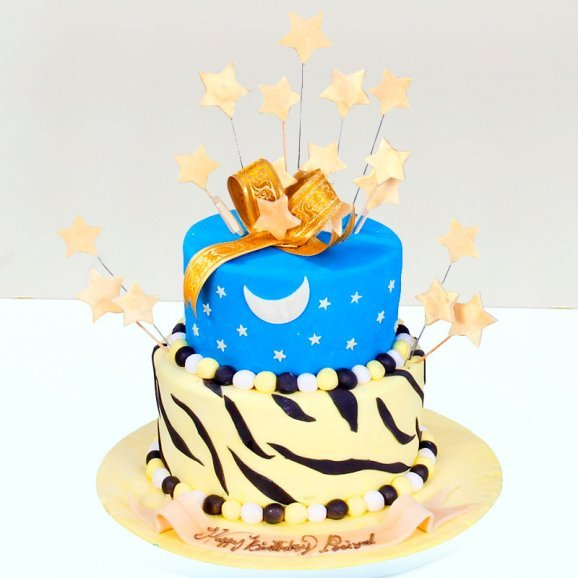 2 Tier Starry Birthday Theme Fondant Cake