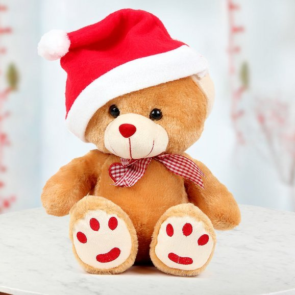 12 Inch Cuddly Bear with a Christmas Special Santa Cap