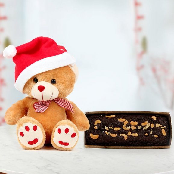 Teddy Cuddle Wearing a Santa Cap and a 1/2 kg Plum Cake