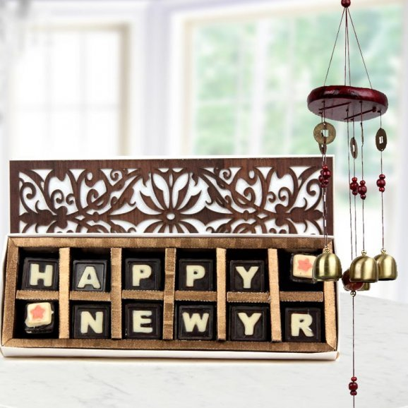 handmade happy new year chocolates & Lucky WindChime