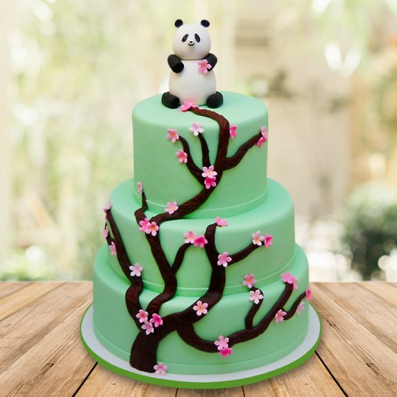 Three tier panda fondant cake