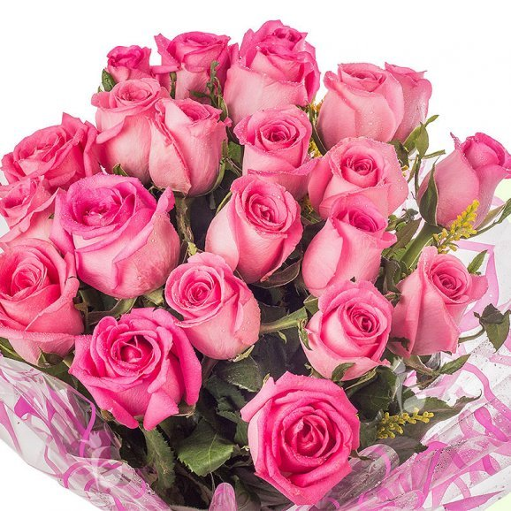 20 Pink Roses Bouquet in Zoomed View
