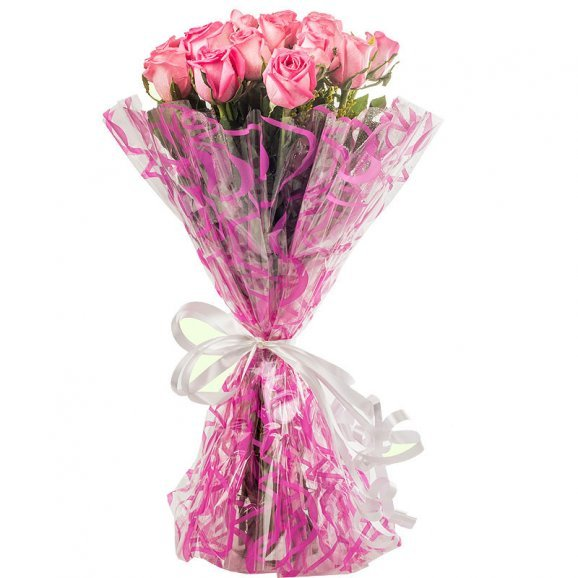 20 Pink Roses Bouquet with Front View
