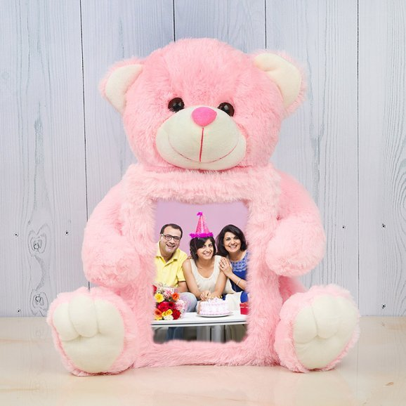 Pink teddy with birthday frame