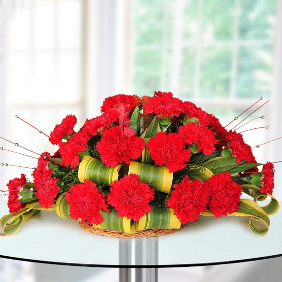 25 Red Carnation Beautiful Arrangement on Table