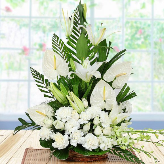 Mixed White Flowers in Basket