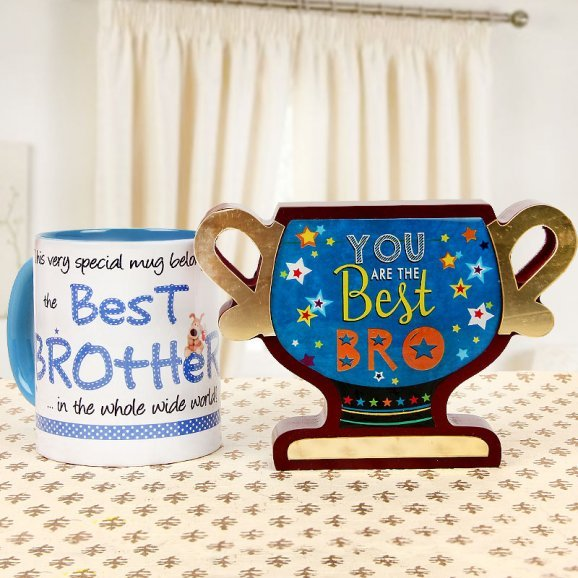 Best Brother Mug with you are the Best Bro Trophy