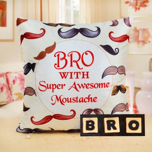 Bro with Super Awesome Moustache Cushion and Bro Handmade Chocolates