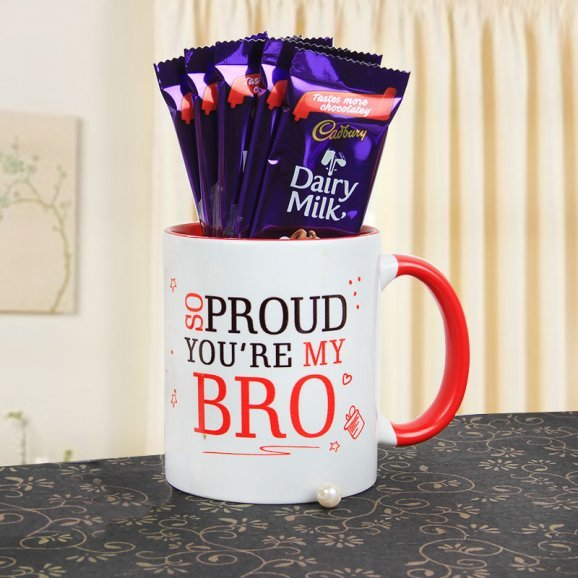 A Beautiful Combo of Bro Mug and 5 Dairy Milk Chocolates