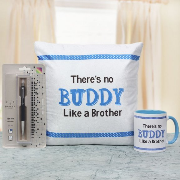 There is no Buddy Like a Brother Cushion and Mug with a Parker Pen