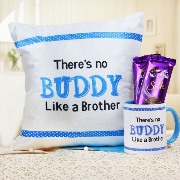 There is no Buddy Like a Brother Cushion mug and 2 Dairy Milk Silk Combo