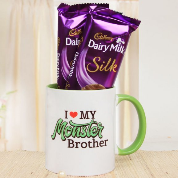 A Wonderful Combo of I Love my Monster Brother Mug and 2 Dairy Milk Silk