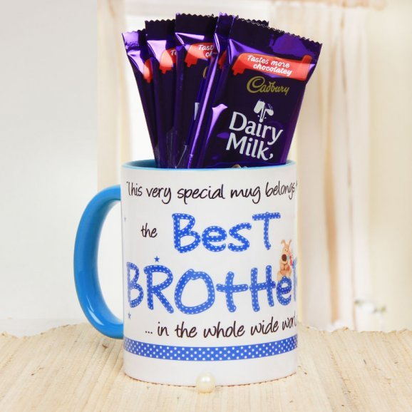 Best Brother Blue Ceramic Mug with 5 Cadburry Dairy Milk Chocolates