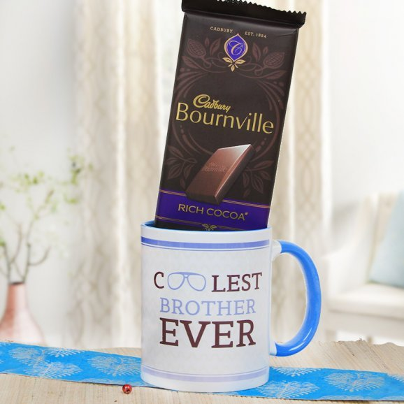 Beautiful Combo of Coolest Brother Ever Mug and a Cadbury Bournville