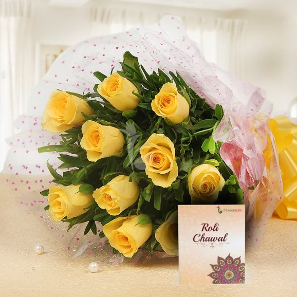 10 Yellow Roses Bunch with Roli Chawal