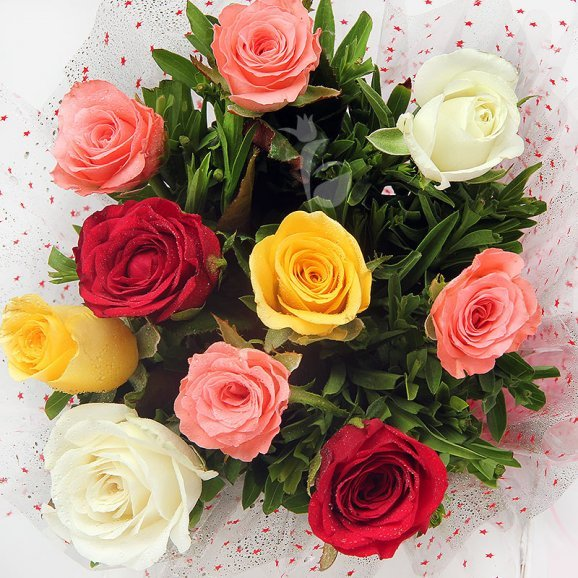 10 Mixed Color Roses Bunch with Top View