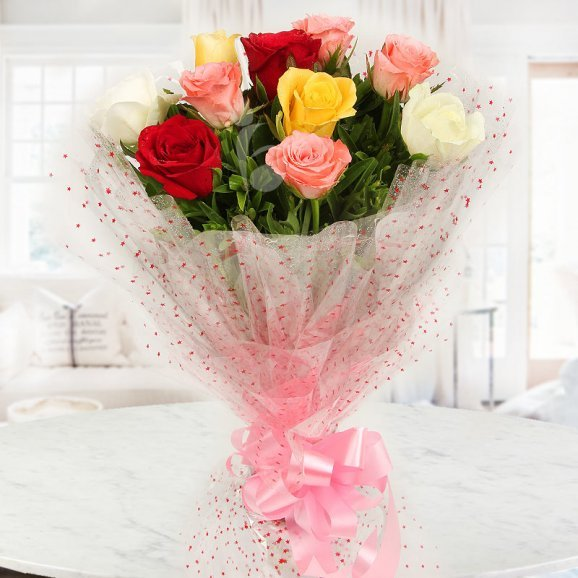 Front view of 10 Mixed roses - A gift of Delicious Ecstasy Combo