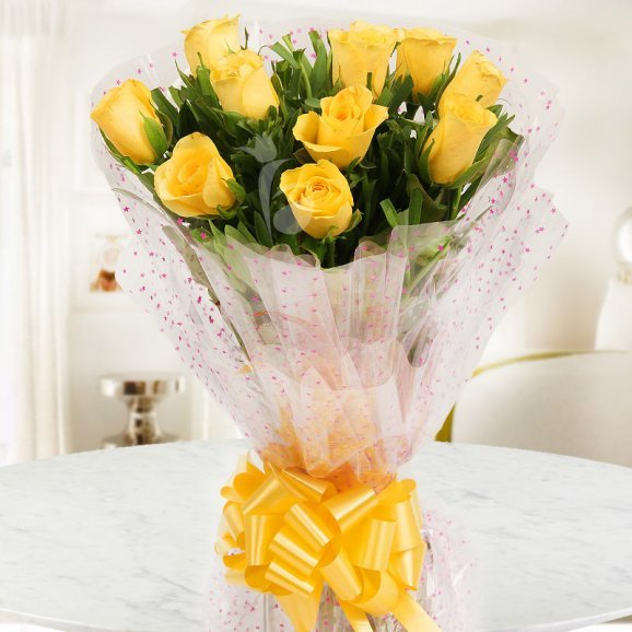 Front view of 10 yellow roses bouquet - A product of Bosom Confidant