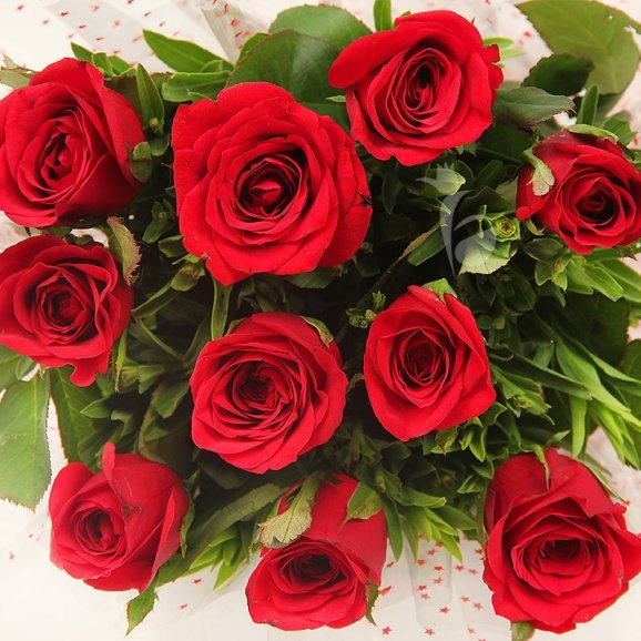 Top view of 10 red roses bouquet - A product of Delectable Symphony Combo