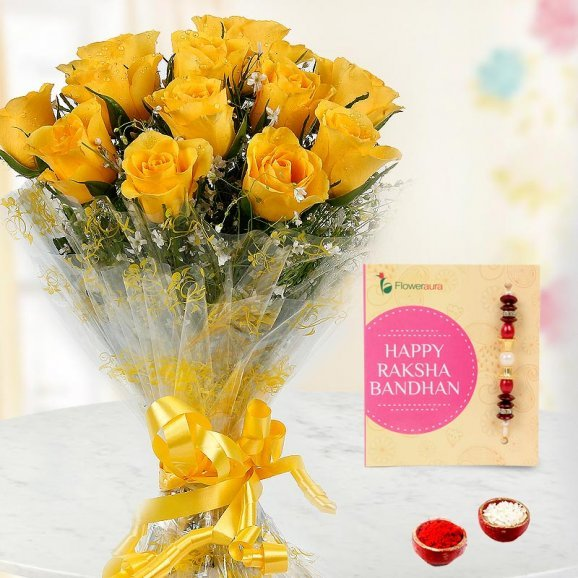 An Ethnic Rakhi with 12 Yellow Roses