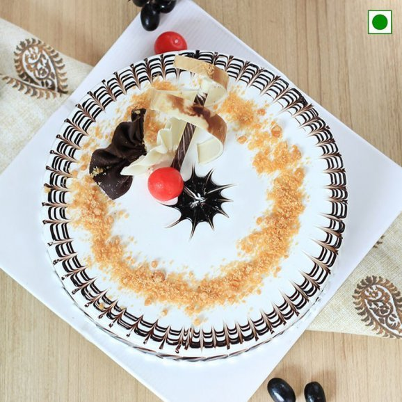 Delectable Eggless butterscotch cake - Top View