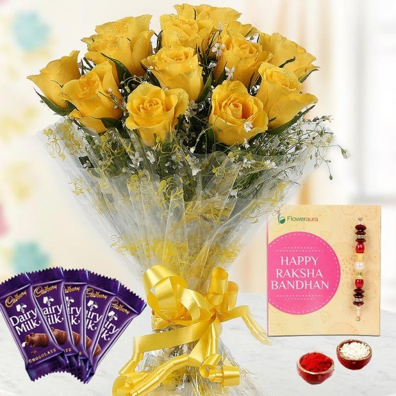 Rakhi with Yellow Roses and Chocolates