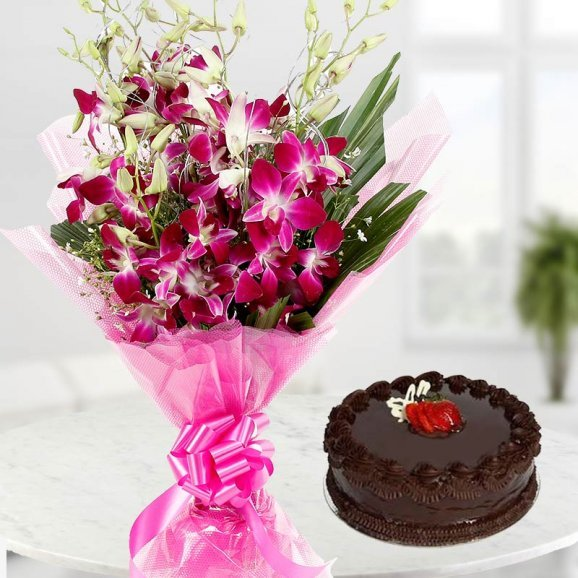 Orchid flower and cake combo