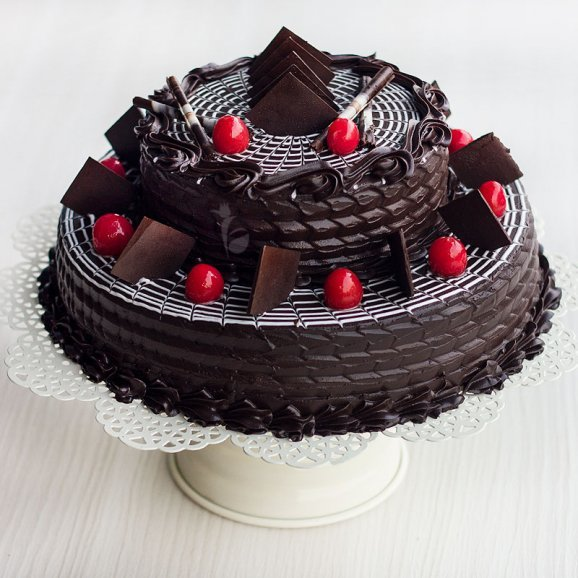2-Tier Choco Truffle Cake with Side View