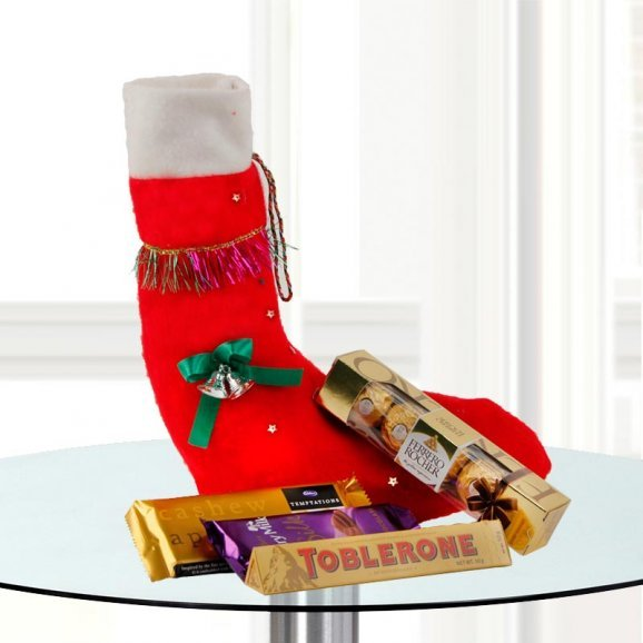 Christmas Stocking, Toblerone, Cadbury Temptations, 4 Ferrero Rochers, Cadbury Silk