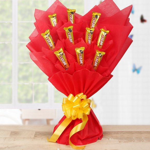 Chocolate star bouquet - A bouquet of 10 Five Star Chocolates