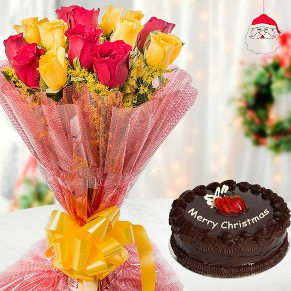 A combo of 18 red and yellow roses and a delectable 1/2 kg chocolate cake for Christmas