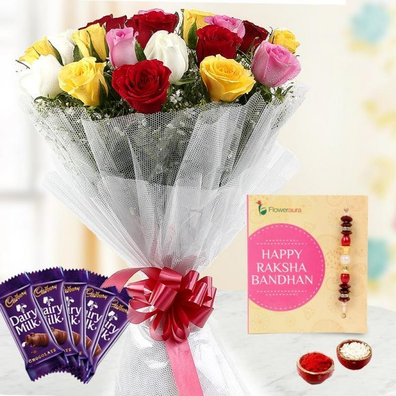 Rakhi with Flowers and Chocolates