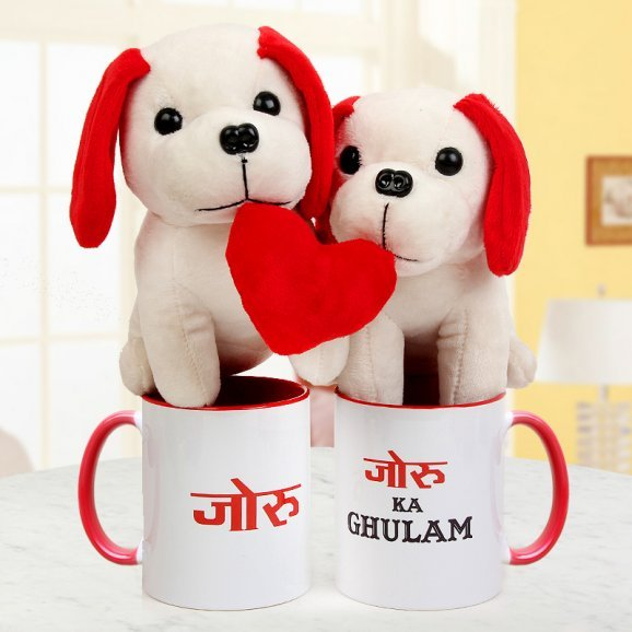 A Pair of Soft Toy Puppies with Heart and A Pair of Joru ka Ghulam Coffee Mugs